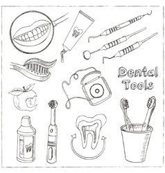 Doodle style dentist equipment sketch vector