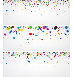 Banners with color confetti vector