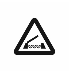 Lifting bridge warning sign icon simple style vector