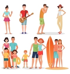 People and couples on vacation beach party vector