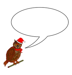 A funny Christmas owl with a speech bubble vector image vector image