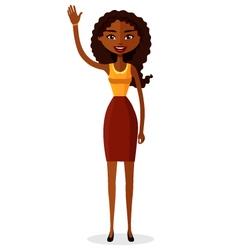 African american businesswoman waving her hand vector