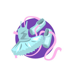 Ballet icon ballet shoes and tutu cartoon vector