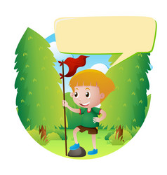 Boy with red flag in the park vector