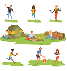 Camper people set tourists traveling camping and vector