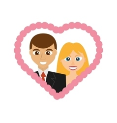 Cartoon wedding couple smiling frame heart design vector