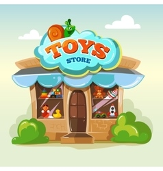 Facade of toy store isolate vector image