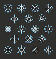 flat design line snowflakes christmas winter and vector image vector image