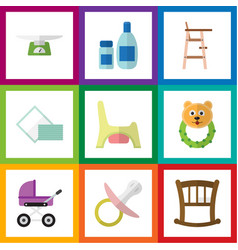 Flat icon baby set of toilet stroller infant cot vector