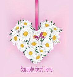 Flower bouquet floral heart frame flourish summer vector