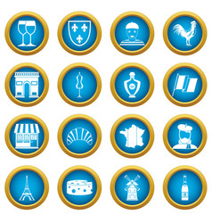 France travel icons blue circle set vector