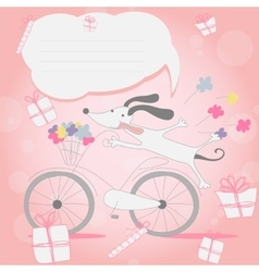 Funny little white puppy on bicycle vector