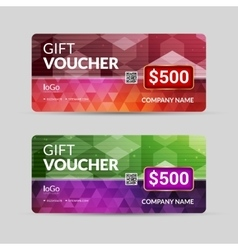 Gift voucher template with colorful triangle vector