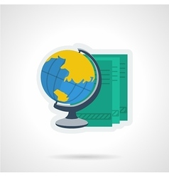 Globe and books flat color icon vector image vector image