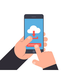 hand holding and pointing to a smartphone vector image