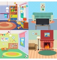 Home interiors set children bedroom living room vector