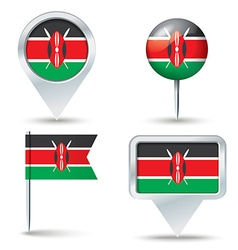 Map pins with flag of Kenya vector image