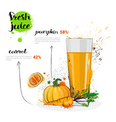 Pumpkin carrot mix cocktail of fresh juice hand vector