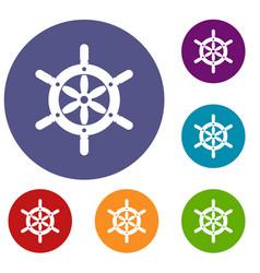 Ship wheel icons set vector