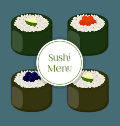 sushi - asian food with fishrice seaweed caviar vector image vector image