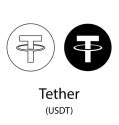 Tether black silhouette vector