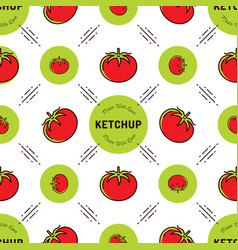 Tomato pattern ketchup label seamless background vector