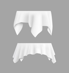 Two white round with table tablecloth vector