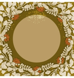 Vintage floral circular frame vector
