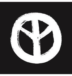 White peace symbol created in grunge style vector