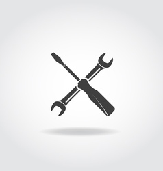 Wrench Screwdriver Black Icon vector image vector image