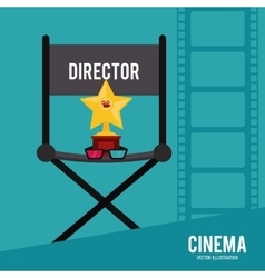 Star 3d glasses director chair icon vector