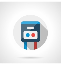 Warm floor switch round flat icon vector