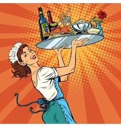 Beautiful young woman waitress in a restaurant vector