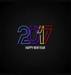 Happy new year 2017 text label design background vector