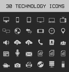 30 light technology icons vector
