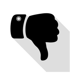 Hand sign  black icon with flat style vector