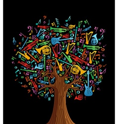 Abstract musical tree vector