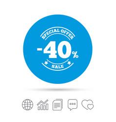 40 percent discount sign icon sale symbol vector