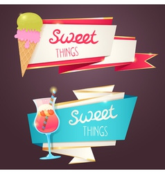 Delicious set of glittering and sparkling banners vector