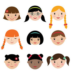 Cute girls faces set vector
