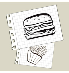 Doodle burger and fries on notepad paper vector