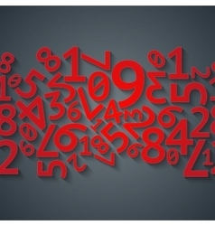 Abstract red random digits with shadows on dark vector