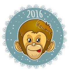 Card with snowflake and monkey symbol of 2016 vector
