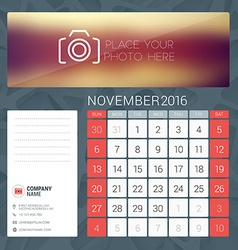 Desk Calendar for 2016 Year November Stationery vector image