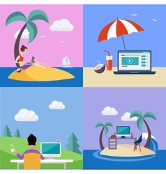 Distant work on holidays set vector