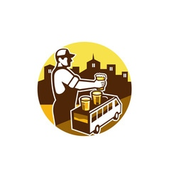 Bartender Beer City Van Circle Retro vector image