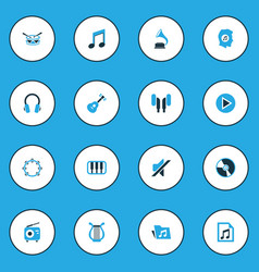 Audio colorful icons set collection of playlist vector