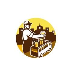 Bartender Beer City Van Circle Retro vector image vector image