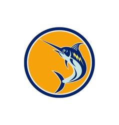 Blue marlin fish jumping circle retro vector