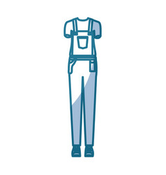 Blue silhouette shading of overall woman clothing vector